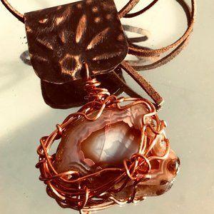 Agate Pendant Necklace Copper Wire Wrap Boho  OOAK
